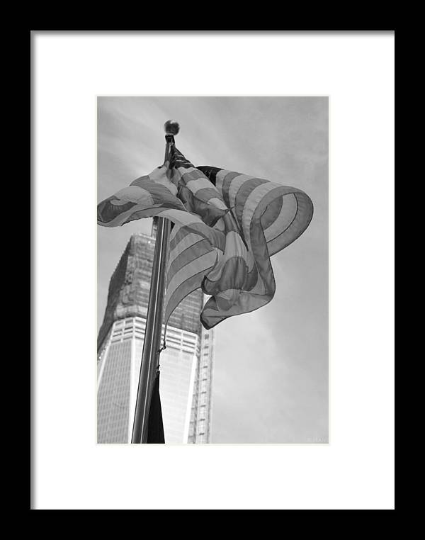 Wtc Framed Print featuring the photograph Stars And Stripes And 1 W T C In Black And White by Rob Hans