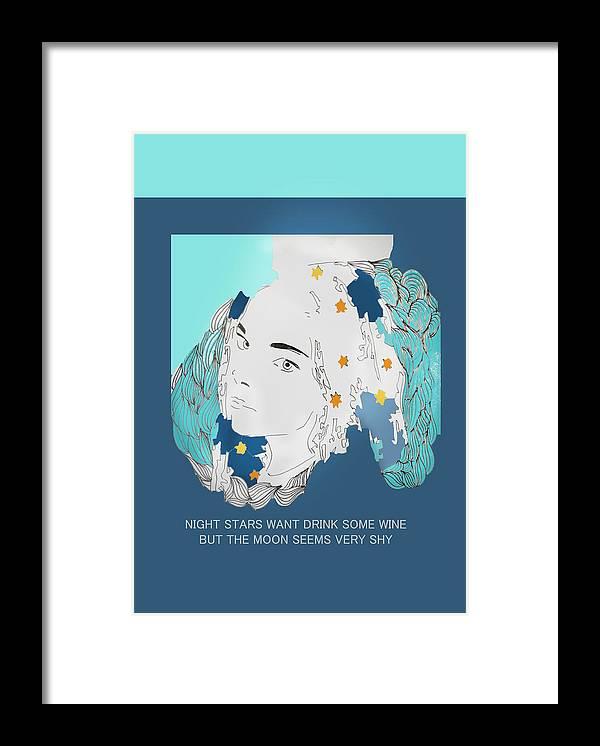 Night Framed Print featuring the digital art Stars by Mariam Bardadze