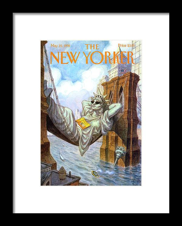 Liberty Framed Print featuring the painting Statue Of Liberty Lounges Between The Brooklyn by Peter de Seve