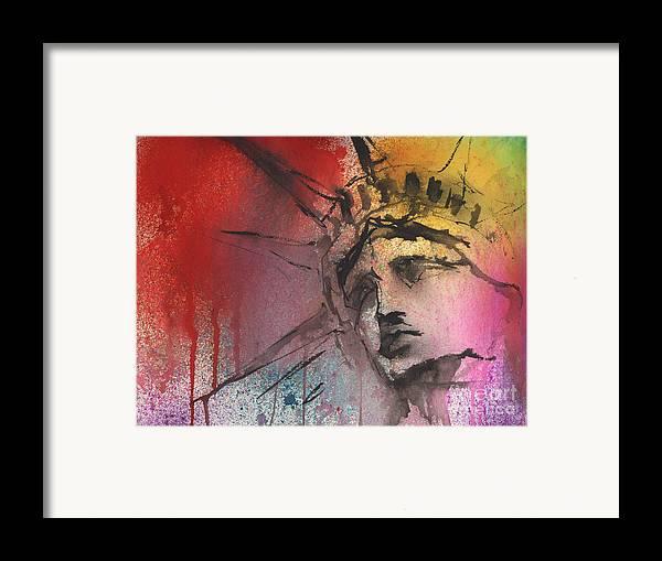Statue Of Liberty Art Framed Print featuring the painting Statue Of Liberty New York Painting by Svetlana Novikova