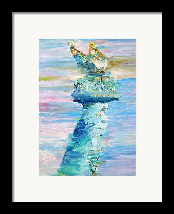 Statue Framed Print featuring the painting Statue Of Liberty - The Torch by Fabrizio Cassetta
