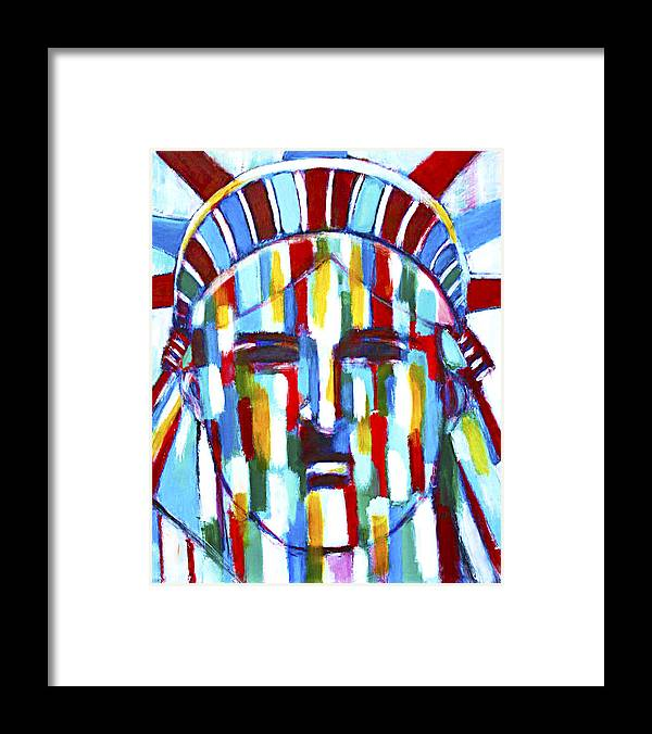 Abstract Framed Print featuring the painting Statue Of Liberty With Colors by Habib Ayat