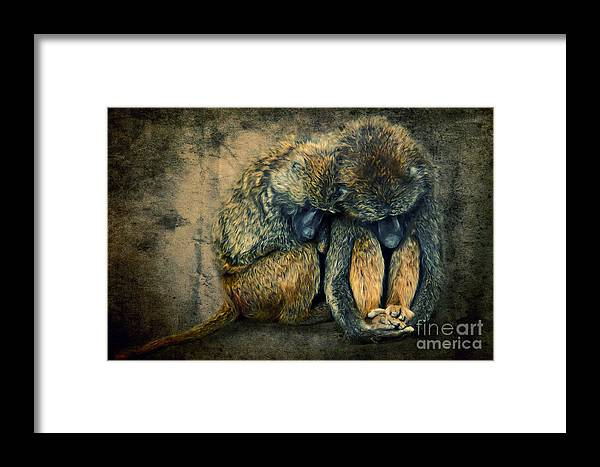 Africa Framed Print featuring the digital art Stay Together by Angela Doelling AD DESIGN Photo and PhotoArt