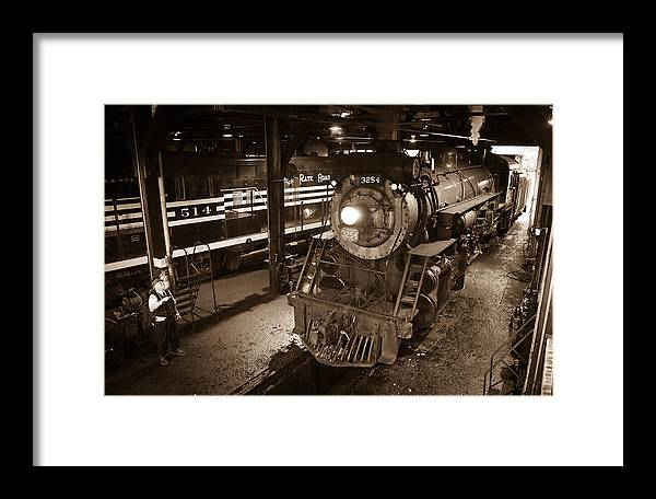 Steam Engine 3254 Framed Print featuring the photograph Steam Engine And Engineer by Robert Klemm