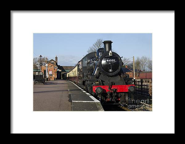 Train Framed Print featuring the photograph Steam Loco 46521 by Steev Stamford