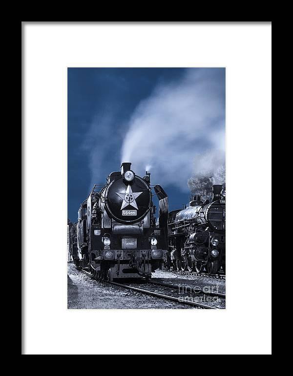 Steam Framed Print featuring the photograph Steam Train In The Night by Martin Dzurjanik
