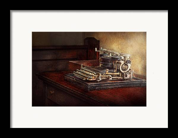 Steampunk Framed Print featuring the photograph Steampunk - A Crusty Old Typewriter by Mike Savad