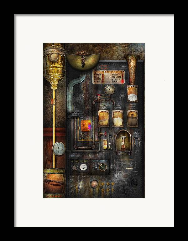 Steampunk Framed Print featuring the digital art Steampunk - All That For A Cup Of Coffee by Mike Savad