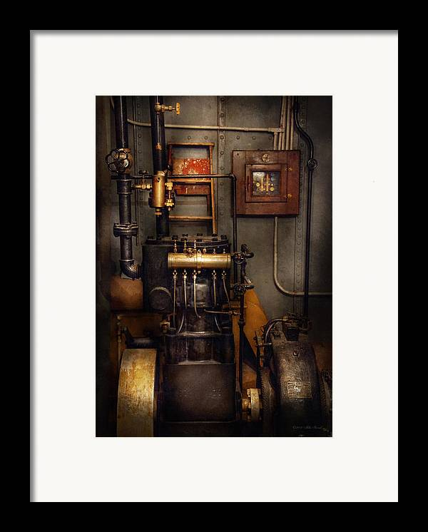 Hdr Framed Print featuring the photograph Steampunk - Back In The Engine Room by Mike Savad