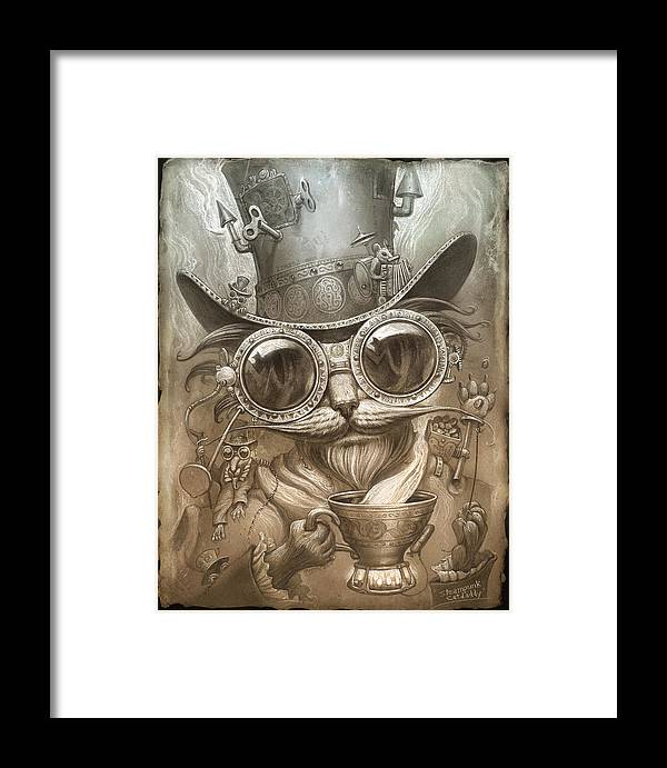 Steampunk Framed Print featuring the painting Steampunk Cat by Jeff Haynie