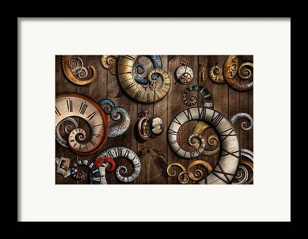 Savad Framed Print featuring the photograph Steampunk - Clock - Time Machine by Mike Savad