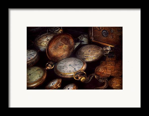Steampunk Framed Print featuring the photograph Steampunk - Clock - Time Worn by Mike Savad