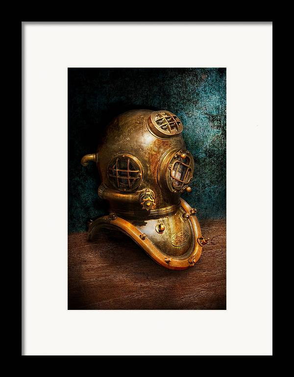 Hdr Framed Print featuring the photograph Steampunk - Diving - The Diving Helmet by Mike Savad