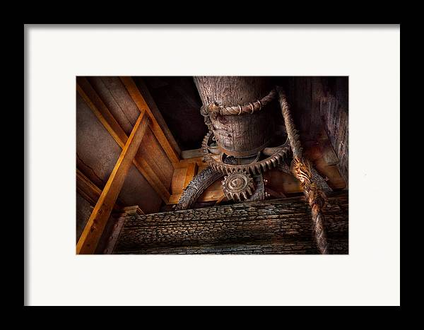 Savad Framed Print featuring the photograph Steampunk - Gear - Out Of Order by Mike Savad