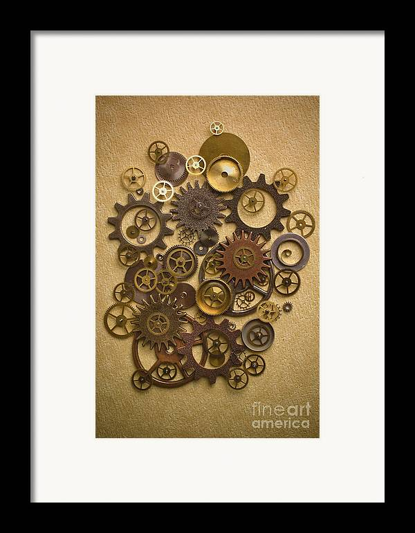 Gears Framed Print featuring the photograph Steampunk Gears by Diane Diederich
