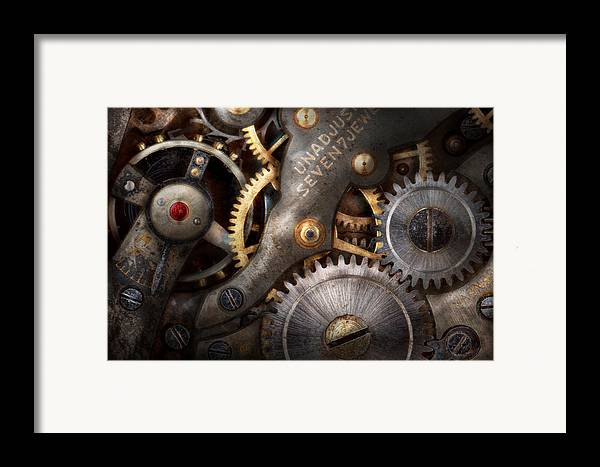 Steampunk Framed Print featuring the photograph Steampunk - Gears - Horology by Mike Savad