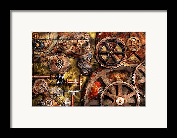 Steampunk Framed Print featuring the photograph Steampunk - Gears - Inner Workings by Mike Savad