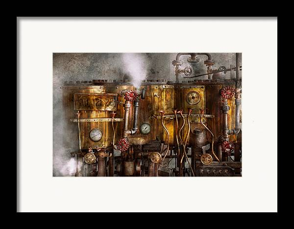 Steampunk Framed Print featuring the photograph Steampunk - Plumbing - Distilation Apparatus by Mike Savad