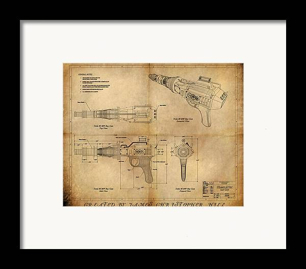 Steampunk; Gears; Housing; Cogs; Machinery; Lathe; Columns; Brass; Copper; Gold; Ratio; Rotation; Elegant; Forge; Industry; Plasma Framed Print featuring the painting Steampunk Raygun by James Christopher Hill