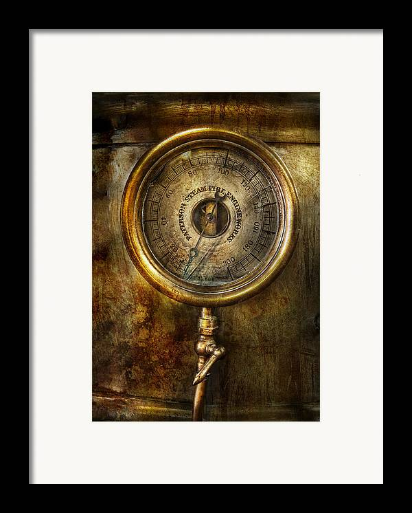 Hdr Framed Print featuring the photograph Steampunk - The Pressure Gauge by Mike Savad