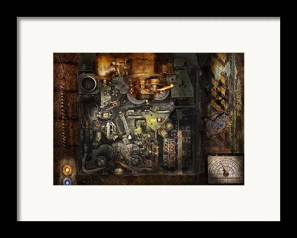Hdr Framed Print featuring the photograph Steampunk - The Turret Computer by Mike Savad