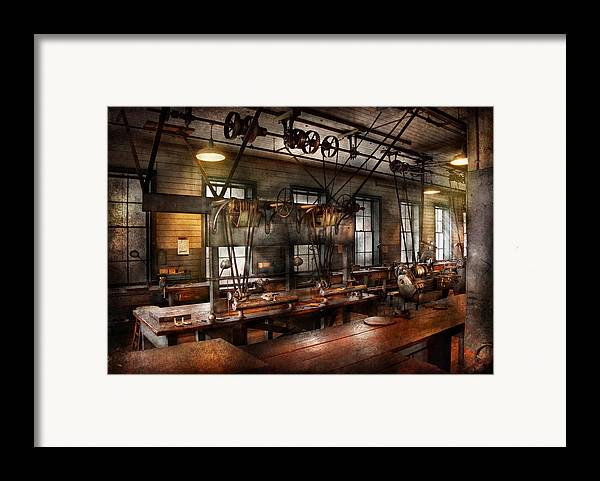 Hdr Framed Print featuring the photograph Steampunk - The Workshop by Mike Savad