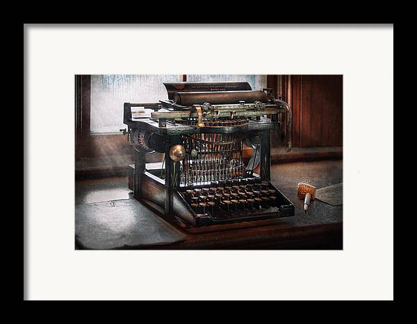 Writer Framed Print featuring the photograph Steampunk - Typewriter - A Really Old Typewriter by Mike Savad