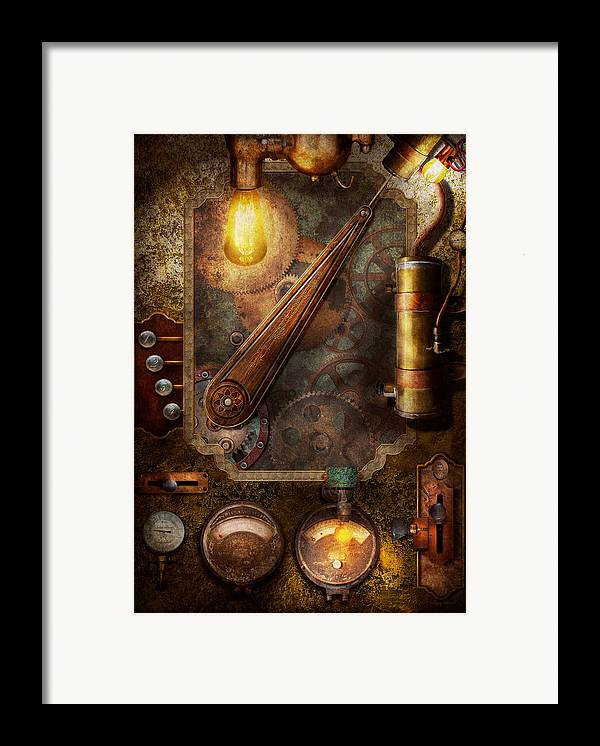 Hdr Framed Print featuring the digital art Steampunk - Victorian Fuse Box by Mike Savad