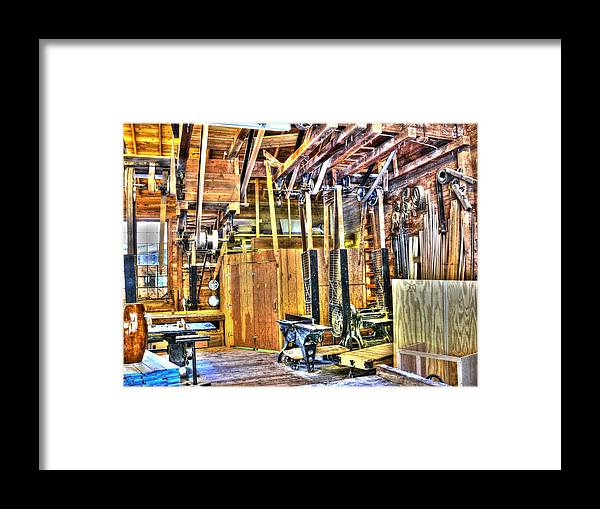 Woodshop Framed Print featuring the photograph Steampunk Woodshop 4 by John Straton
