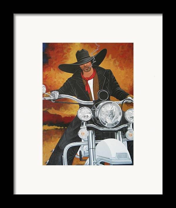 Cowboy On Motorcycle Framed Print featuring the painting Steel Pony by Lance Headlee