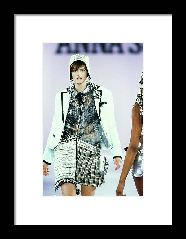 Indoors Framed Print featuring the photograph Stella Tennant On A Runway For Anna Sui by Guy Marineau
