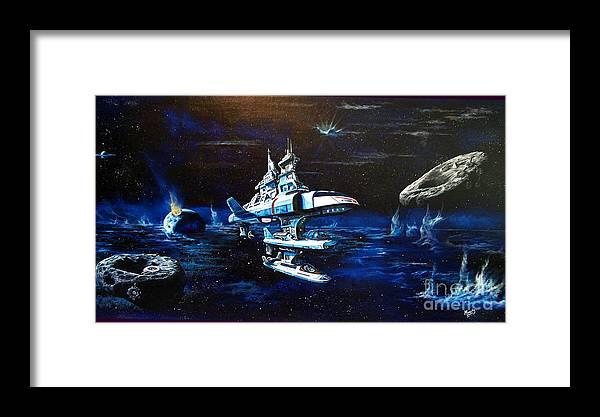 Alien Framed Print featuring the painting Stellar Cruiser by Murphy Elliott