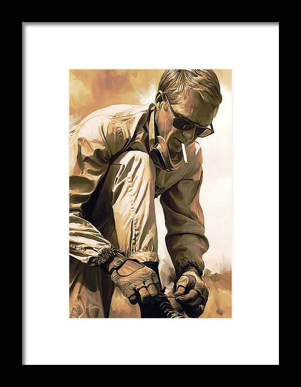 Steve Mcqueen Paintings Framed Print featuring the painting Steve Mcqueen Artwork by Sheraz A