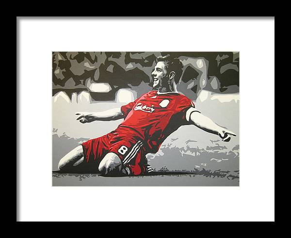 Steven Gerrard Framed Print featuring the painting Steven Gerrard - Liverpool Fc by Geo Thomson