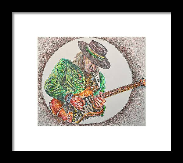 The Late Great Guitarist S.r.v. Framed Print featuring the drawing Stevie Ray Vaughn by Breyhs Swan