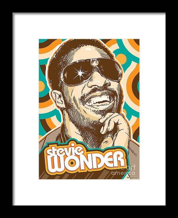 Superstition Framed Print featuring the digital art Stevie Wonder Pop Art by Jim Zahniser