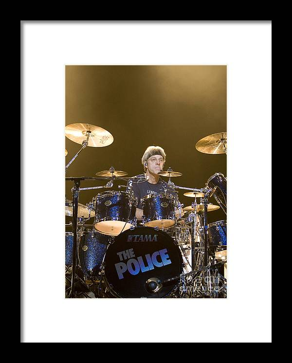 Musician Framed Print featuring the photograph Stewart Copeland of The Police by Jason O Watson