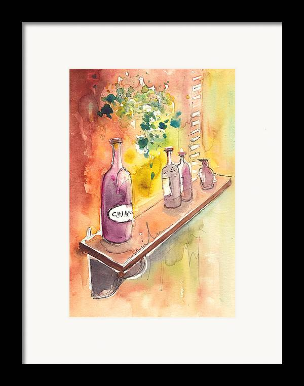 Italy Framed Print featuring the painting Still Life In Chianti In Italy by Miki De Goodaboom