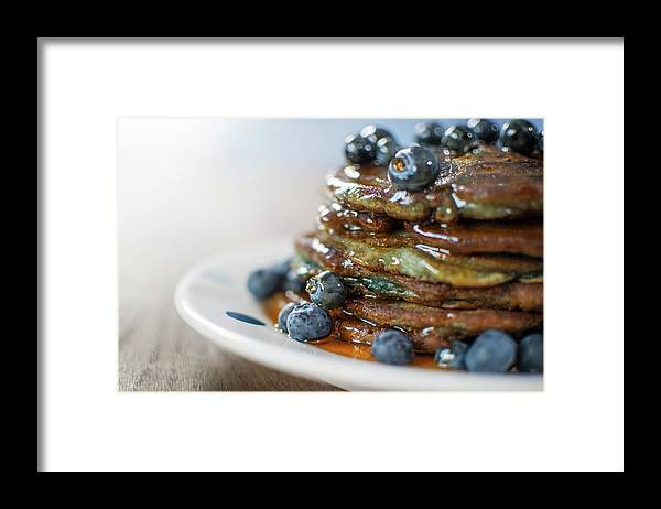 Unhealthy Eating Framed Print featuring the photograph Still Life Of Blueberry Pancakes With by Matt Walford