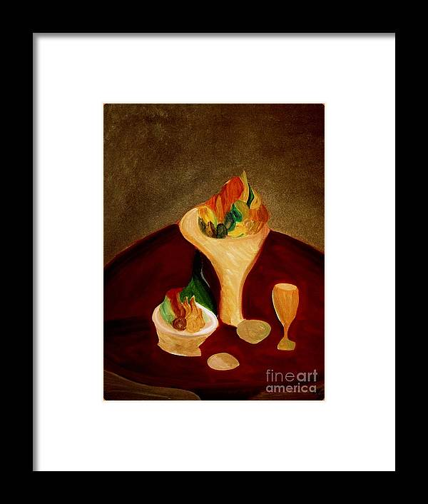 Bill Oconnor Framed Print featuring the painting Still Life On A Red Table by Bill OConnor