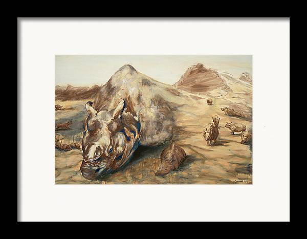 Rhino Framed Print featuring the painting Still Life by Sarah Soward