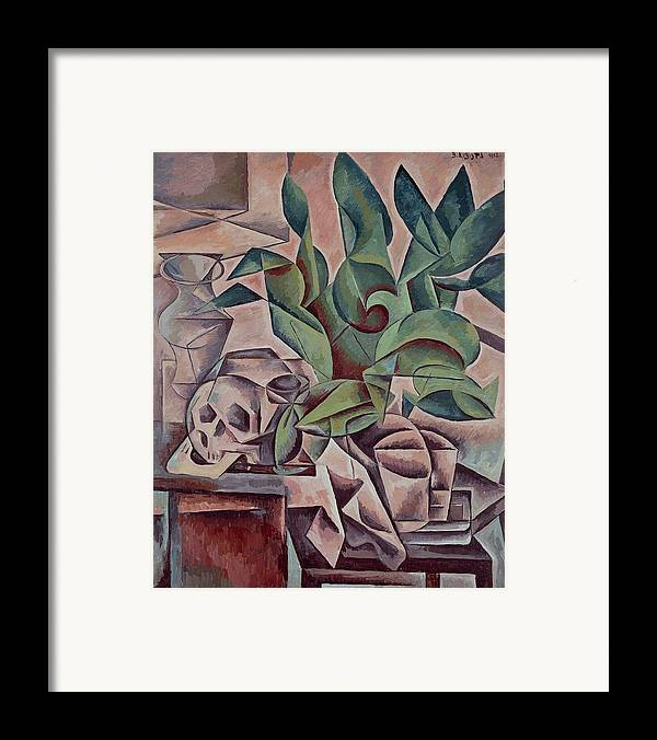 Art Framed Print featuring the painting Still Life Showing Skull by Kubista Bohumil