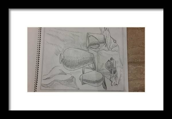 Sketching On Cartridge Sheet Framed Print featuring the drawing Still Life Sketching by Palli Ritu