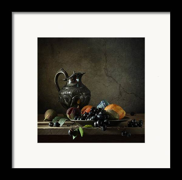 Fine Art Photograph Still Life With A Jug Framed Print featuring the photograph Still Life With A Jug And Fruit by Diana Amelina
