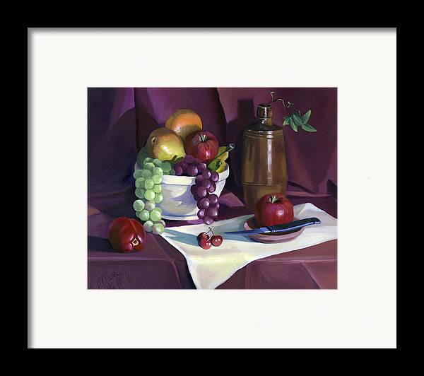 Fine Art Framed Print featuring the painting Still Life With Apples by Nancy Griswold