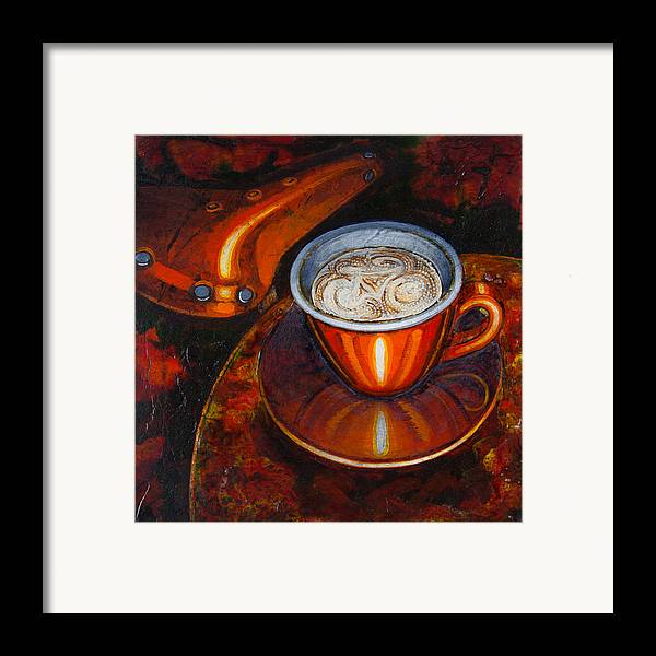 Coffee Framed Print featuring the painting Still Life With Bicycle Saddle by Mark Howard Jones
