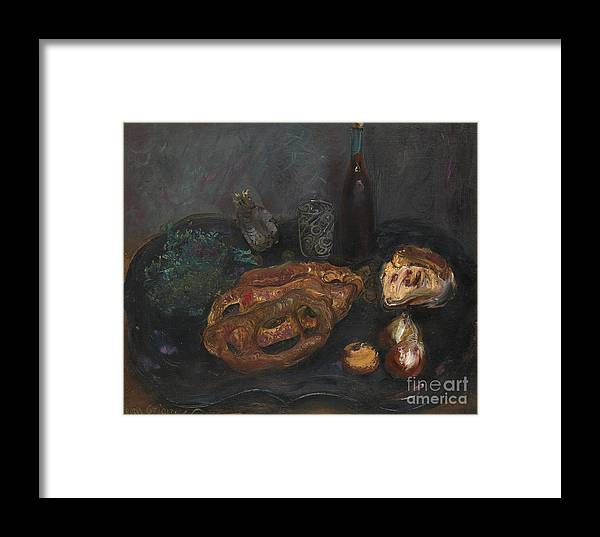 Russia Framed Print featuring the painting Still Life With Bread And Onions by Celestial Images