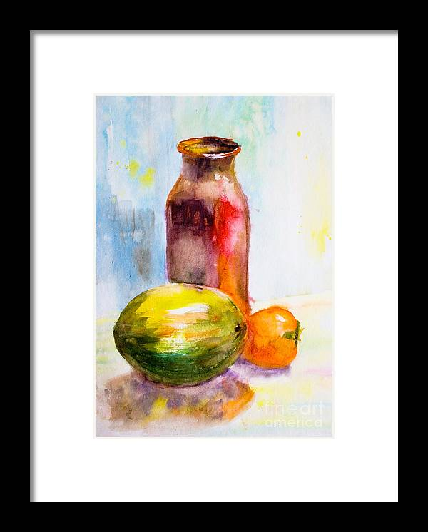 Antique Framed Print featuring the painting Still Life With Jug And Fruit by Regina Jershova