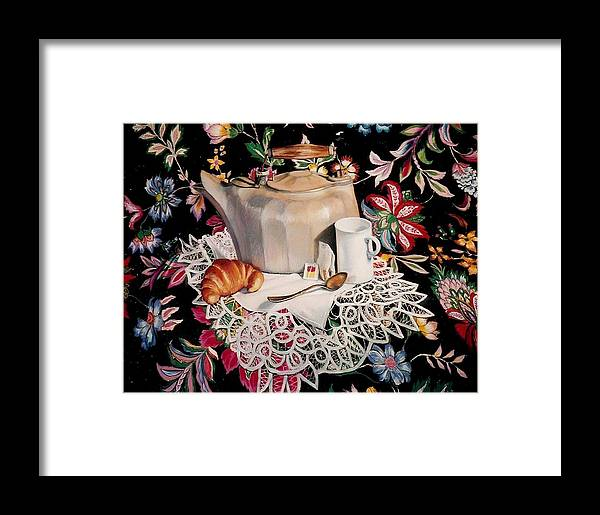 Stillife Framed Print featuring the pastel Still Life With Lace by Constance Drescher