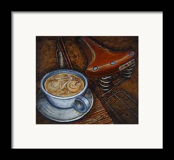Coffee Framed Print featuring the painting Still Life With Ladies Bike by Mark Jones